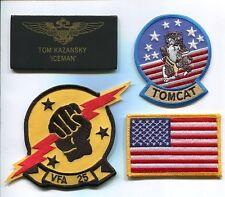 TOM ICEMAN KAZANSKY TOP GUN MOVIE F-14 TOMCAT Squadron Costume Jacket Patch Set