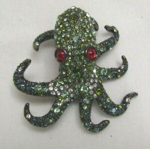 Green Octopus Brooch  Pin