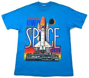 Vintage-NASA-Space-Shuttle-Single-Stitch-Tee-Teal-Blue-Size-XL-Mens-T-Shirt-90s