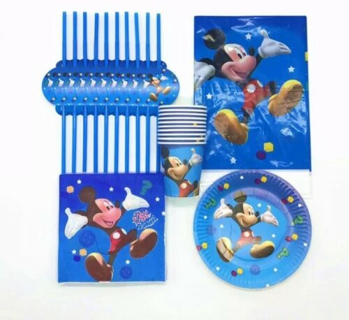 Mickey Mouse Birthday Decoration Party Tableware Straws Cups Plates Table cover