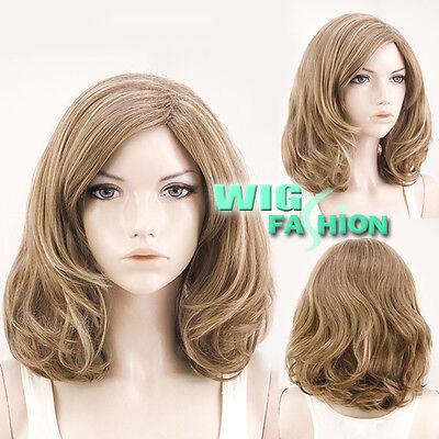"18"" Medium Wavy Brown Mixed Blonde Fashion Hair Wig"