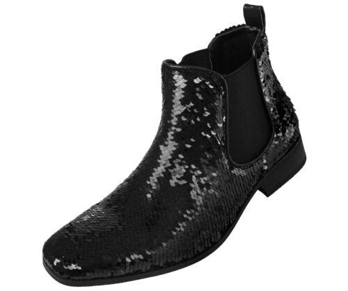 Homme Amali réversible Métallique Paillettes Chelsea Boot-Style Capri