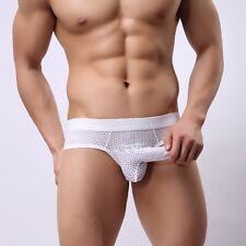 Hot Men's Briefs Underwear Male Bulge Sheer Mesh See-Through Thong Bikini Pants