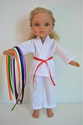 "Handmade Doll Clothes White Karate Uniform Gi TKD 14"" Hearts for Heats H4H G2G"