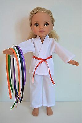 "Handmade Doll Clothes White Karate Uniform Gi TKD 14"" Hearts for Heats H4H G2G"