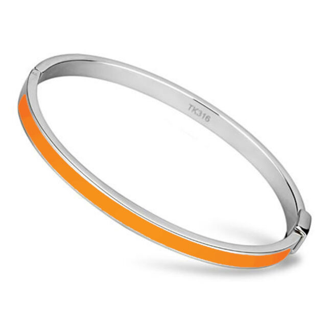 Thin Orange Line Bangle Stainless Steel and Epoxy