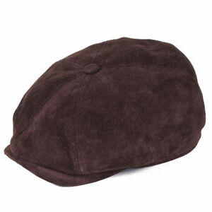 7022d81a5aa706 Image is loading Stetson-Hatteras-Nubuck-Bakerboy-Cap-Leather-Burgundy