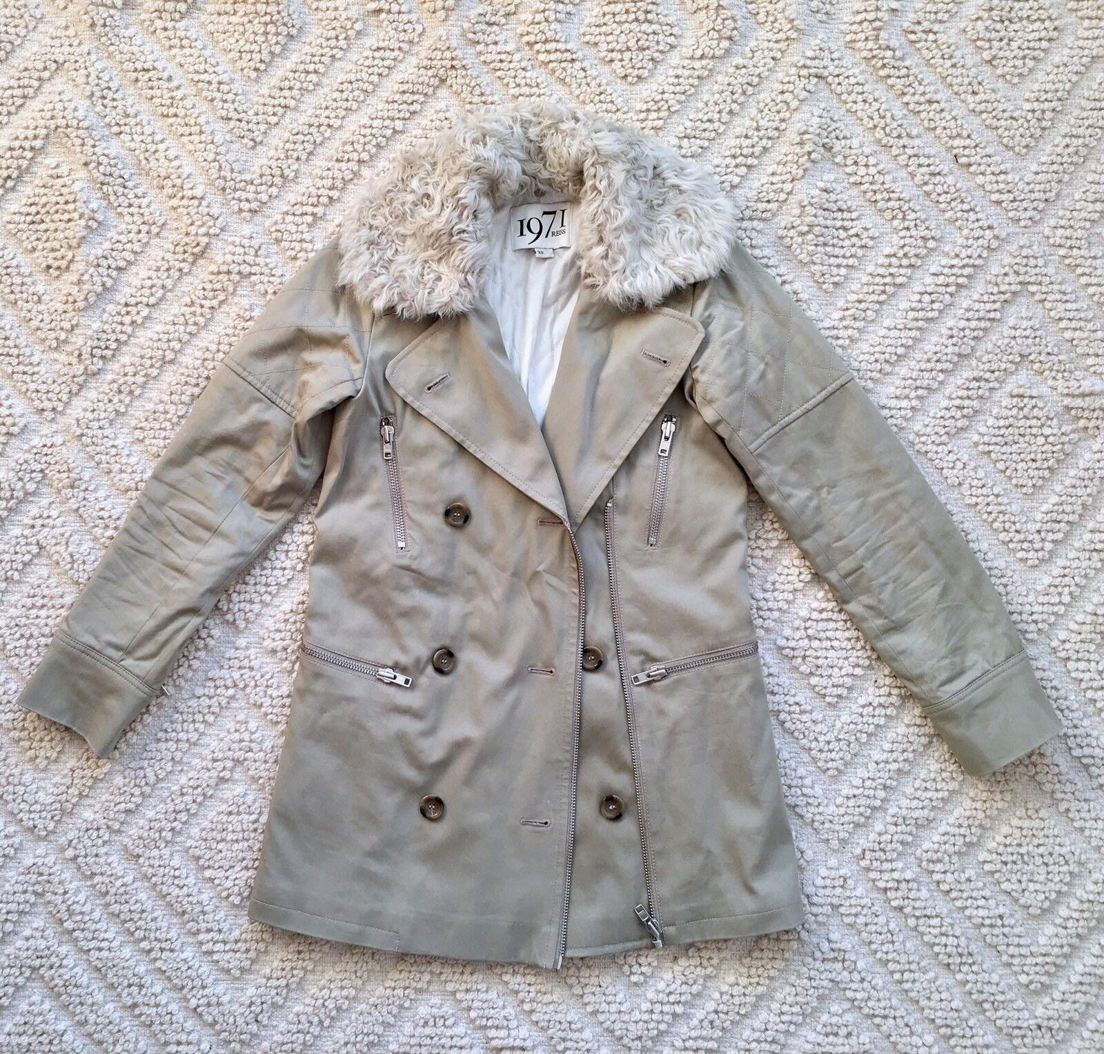 REISS 1971 Khaki DOUBLE BREASTED Real Sheepskin Collar Collar Collar PARKA COAT XS 6 8 36 616e02
