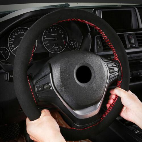 DIY Black Suede+Red Line Car Steering Wheel Cover Protector 37-38cm Hand Sewing