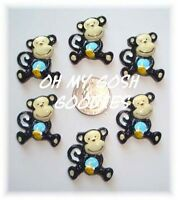 6pc Safari Funky Spunky Monkey Business Flatback Resins 4 Hairbow Bow Center