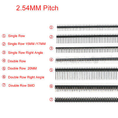 40P Pin Header 2.54mm Double//Single Row Straight//Right Male Pin Strip PCB Header