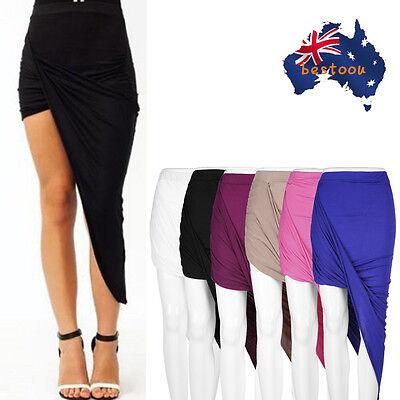 Draped Asymmetrical High Waisted Stretch Bodycon Low Mini Maxi Skirts New BO