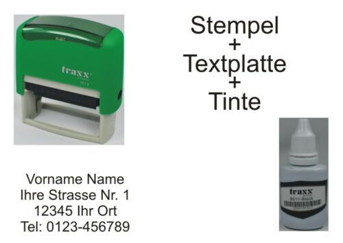 BüroStempel AdressStempel TextStempel Stempel 4 Zeilen 22x58 grün Neu