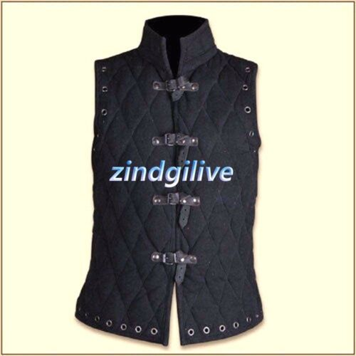 Thick black color Gambeson Medieval Padded collar sleeveless armor new aarrival