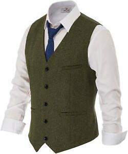 PJ PAUL JONES Mens Slim Fit Herringbone Tweed Suits Vest Wool Blend Waistcoat