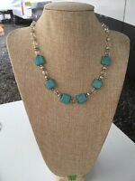 Blue And Yellow Magnesite Natural Stone Handmade Beaded Necklace W Clear Crystal
