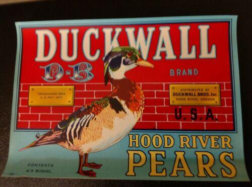 DUCKWALL MALLARD WOOD DUCK Vintage Pear Crate Label ORIGINAL HOOD RIVER OREGON
