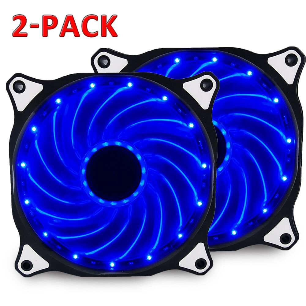 2-pack 120mm DC 15 LED Cooling Case Fan for PC Computer Quiet Edition CPU Cooler