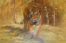 """INCREDIBLE Large Tiger Oil Painting By Painter McDonald - 3ft x 2ft (36"""" x 12"""")"""