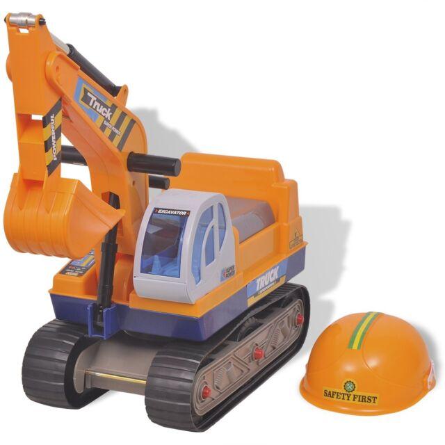 vidaXL Kinderbagger Bagger Sitzbagger Sandbagger Spielzeug Rutschauto Helm