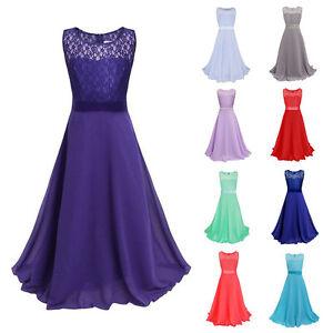 Image Is Loading Pageant Kids Girls Lace Princess Dress Wedding Bridesmaid
