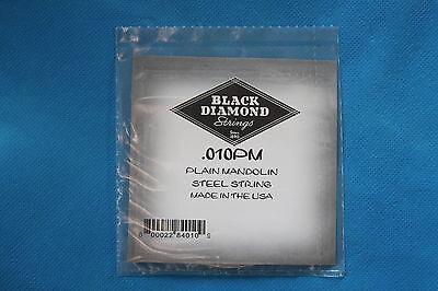 .010PM Black Diamond Pair of Plain Steel .010 Gauge Loop End Mandolin Strings