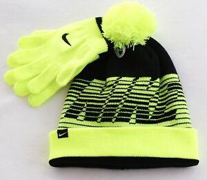 6718ed4262f Nike Volt   Black Knit Cuff Pom Beanie   Stretch Gloves Youth Boy s ...