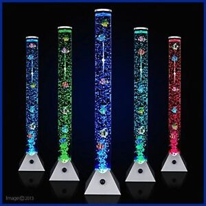 size 40 9dabb a2247 Details about COLOUR CHANGING LED SENSORY MOOD BUBBLE 5 FISH WATER TOWER  TUBE FLOOR LAMP LIGHT