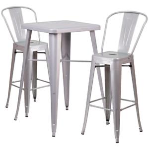 Stupendous Details About Stylish Bistro Style 3 Piece Silver Bar Set Indoor Outdoor Metal Furniture Customarchery Wood Chair Design Ideas Customarcherynet