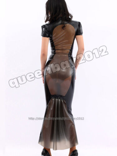 100% Latex Rubber Gummi Kleid Dress Catsuit Ganzanzug Rock Skirt ...