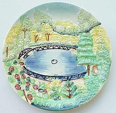 VERY Vintage Blue Hole Plate Castalia Oh Ohio. NICE.