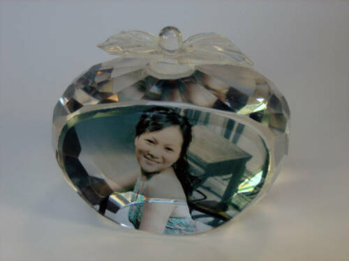 Personalized  paperweight Gift ViVi crystal Photo K 983
