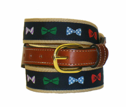 Moonshine BOW TIE Bow ties Embroidered Leather Canvas Ribbon Belt NWT pic size