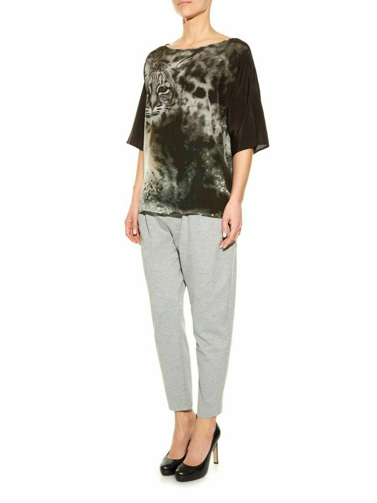 Max Mara damen Silk Top Villa Bobcat Print Shirt Blouse Short Sleeve S M  NW