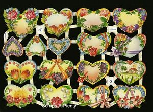 Kaartjes, overig Flowers & Hearts EF7173 Verzamelingen German Embossed Vintage Style Scrap Die Cut Relief