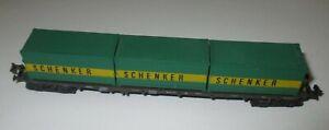 Minitrix-Conteneur-Osez-4-achs-Avec-3-Schenker-Container