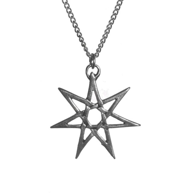 Silver Plated Heptagram Seven Pointed Star Pendant Necklace Sigils of the Craft