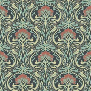 peacock green retro floral wallpaper art deco flora. Black Bedroom Furniture Sets. Home Design Ideas