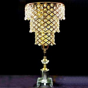 Image Is Loading 50cm 3 Tiers Crystal Chandelier Bedside Table Lamp