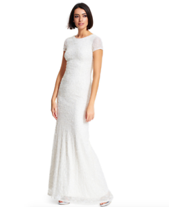 Adrianna-Papell-Ivory-White-Short-sleeve-Sequined-Scoop-Back-Gown-w-Train-sz-6