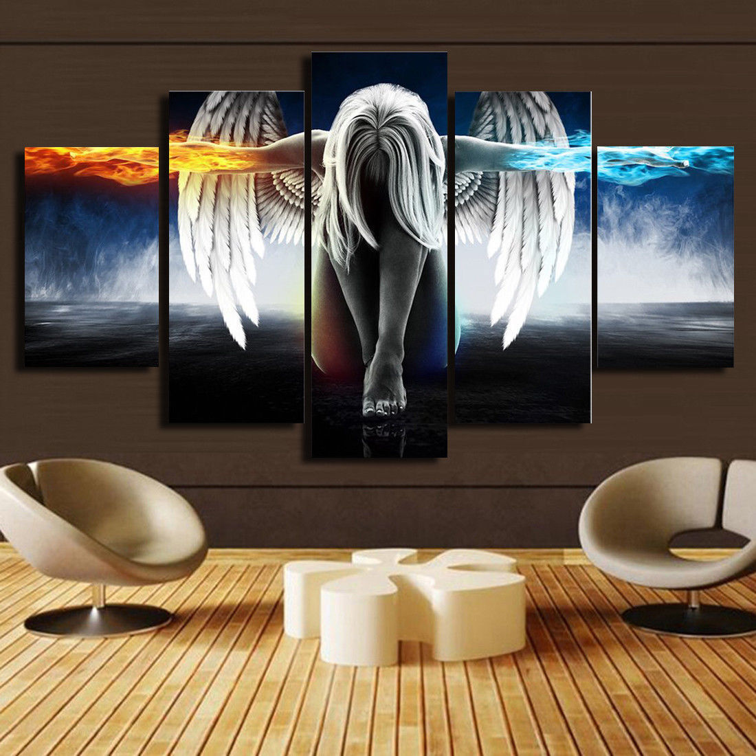 4 PANEL TOTAL 138x78cm  CANVAS WALL ART ABSTRACT PRINT MOUNTED EFFECT FIRE BROWN