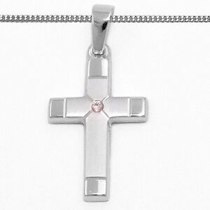 Set Taufring mit Uhr Zirkonia 585 Weißgold mit Panzekette 14kt Baby Taufe Qualit