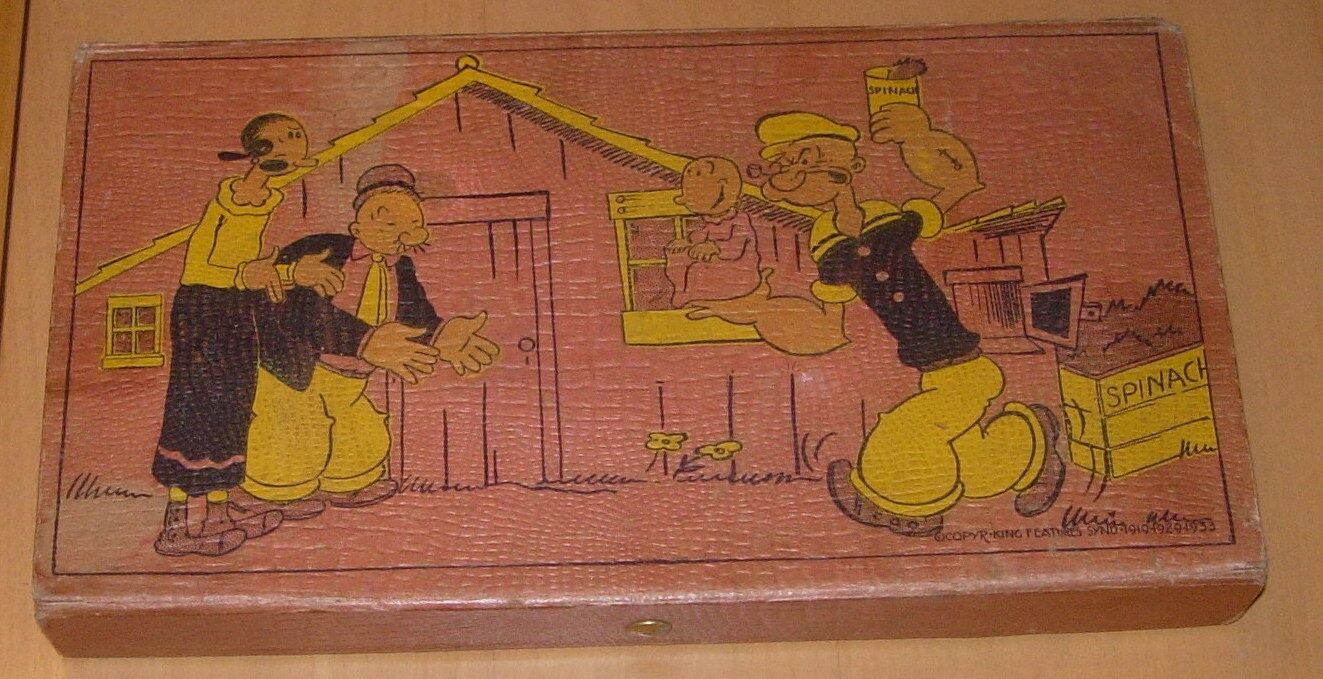 Vintage Popeye Caja de lápiz Eagle 9097 C. 1933 bonito uno Pilón Oliva Oyl