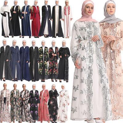 Dubai Open Style Cardigan Abaya Muslim Prayer Kaftan Arab Women Robe Maxi Dress Ebay
