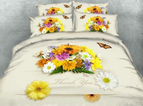 3D Bedding Set Cover Queen King Bed Size Duvet Royal Linen Rose Rainbow