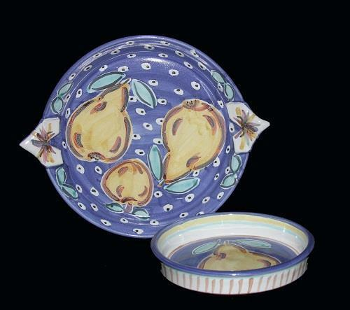 2 Pc Pears Handpainted Handmade Shallow Dishes by Gail Schaefer NEW Very Nice