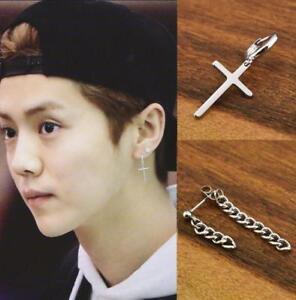 Image Is Loading Uni Simple Corss Earrings Chain Ear Stud Jewelry