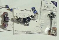 3 Darice Mix & Mingle Set-glass Metal Lined Beads &charms,key-wedding-silver-33