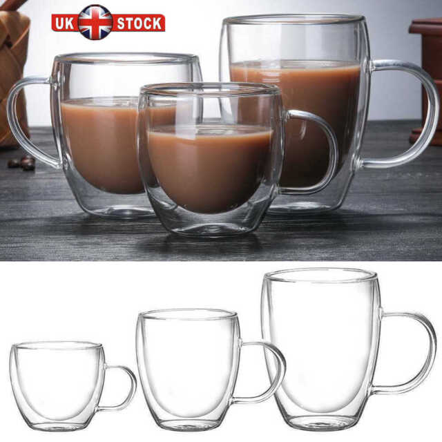 150 450ml Glass Coffee Mug Clear Double Wall Insulated Thermal Tea Cup Drinking
