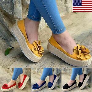 Women-Casual-Comfort-Flat-Platform-Slip-On-Sneakers-Plimsoll-Pump-Loafers-Shoes